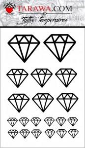 tatouage éphemère diamant